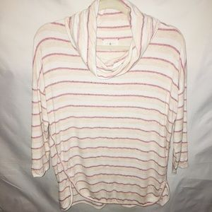 Lou & Grey cowl neck pink & white striped pullover